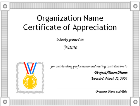 the certificate of appreciation needs to have the organization name in bold characters followed by the name of the person it is being presented to